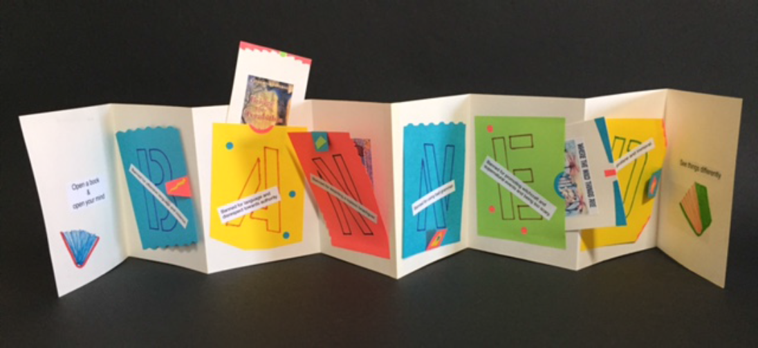 Banned Book Week themed accordion book