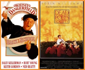 "movie posters for ""Back to School"" and ""Dead Poets Society"""