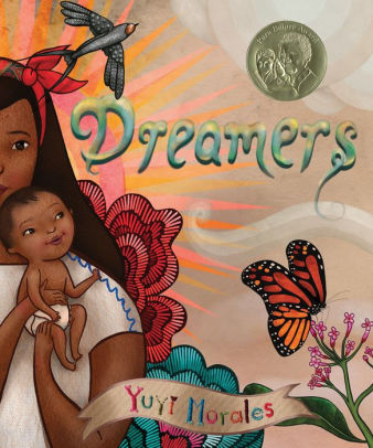 Picture Book, Dreamers by Yuyi Morales: picture of mother holding child surrounded by clouds.