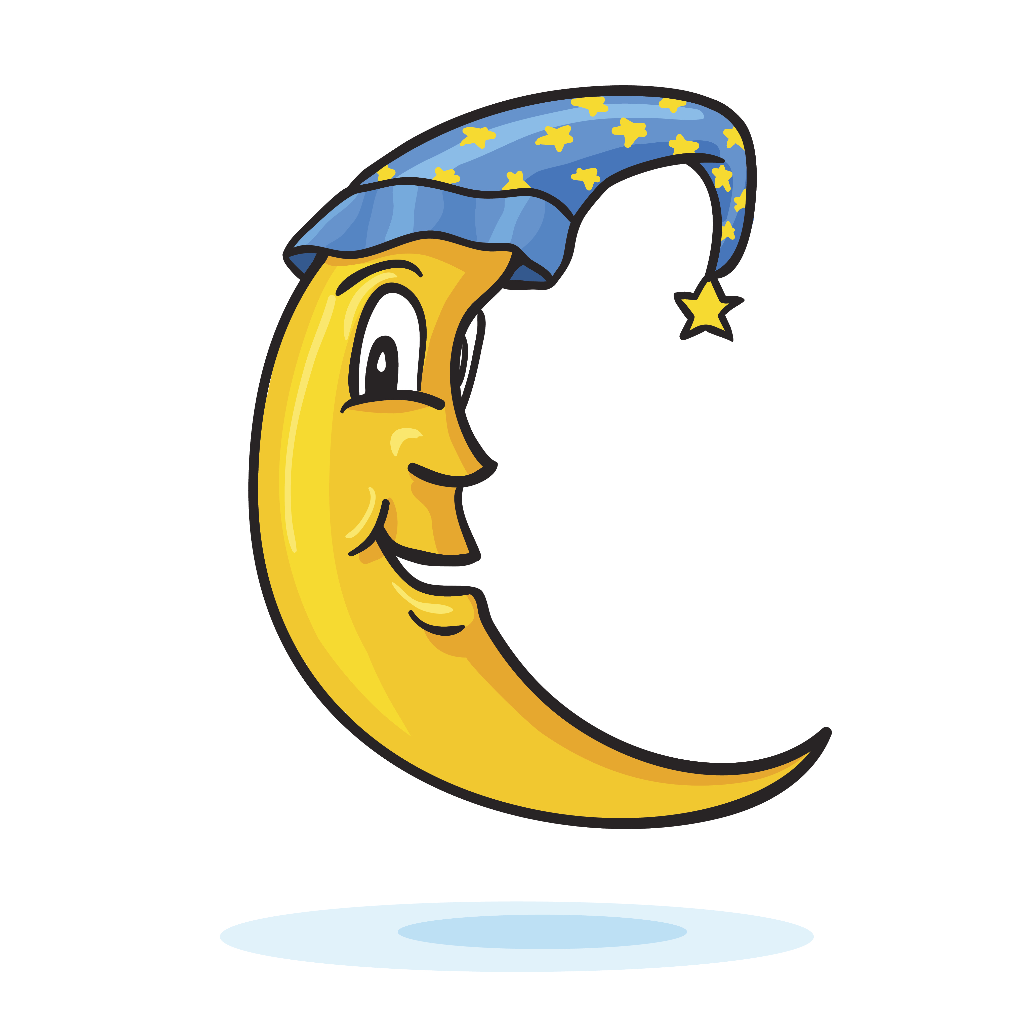 Drawing of the moon wearing a sleeping cap