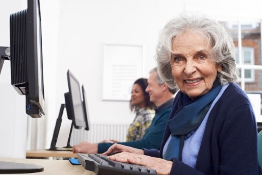 elderly lady on computer