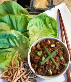 lettuce leaves and filling to make a lettuce wrap