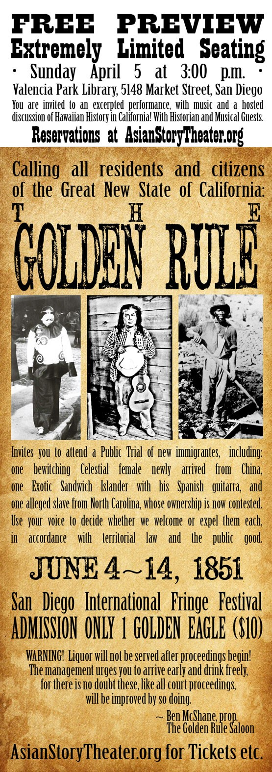 Old fashioned poster bill for THE GOLDEN RULE