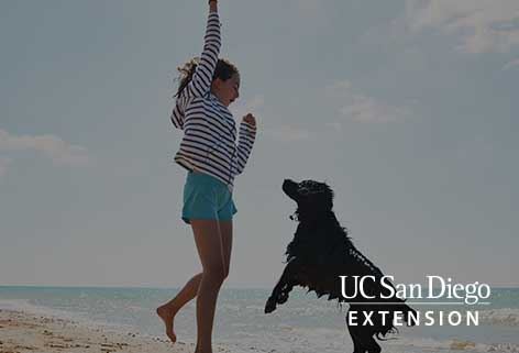 A girl and a dog jumping at the beach