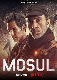Poster for Mosul featuring the faces of hardened a SWAT team Leader and a young man