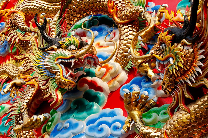 Colorful photos of Asian Dragon Statues in Thailand