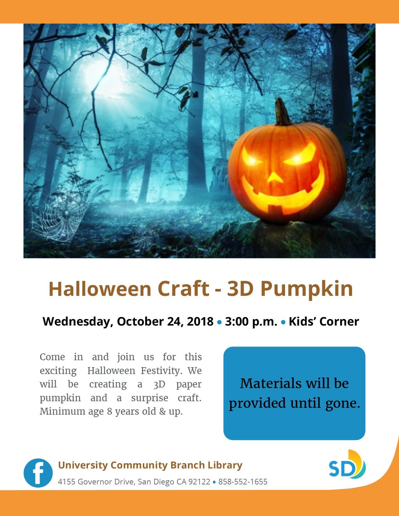 Halloween Craft 3d Pumpkin San Diego Public Library