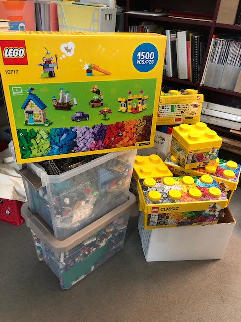 Legos in boxes and totes