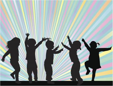 Silhouette of 5 children dancing against a rainbow background