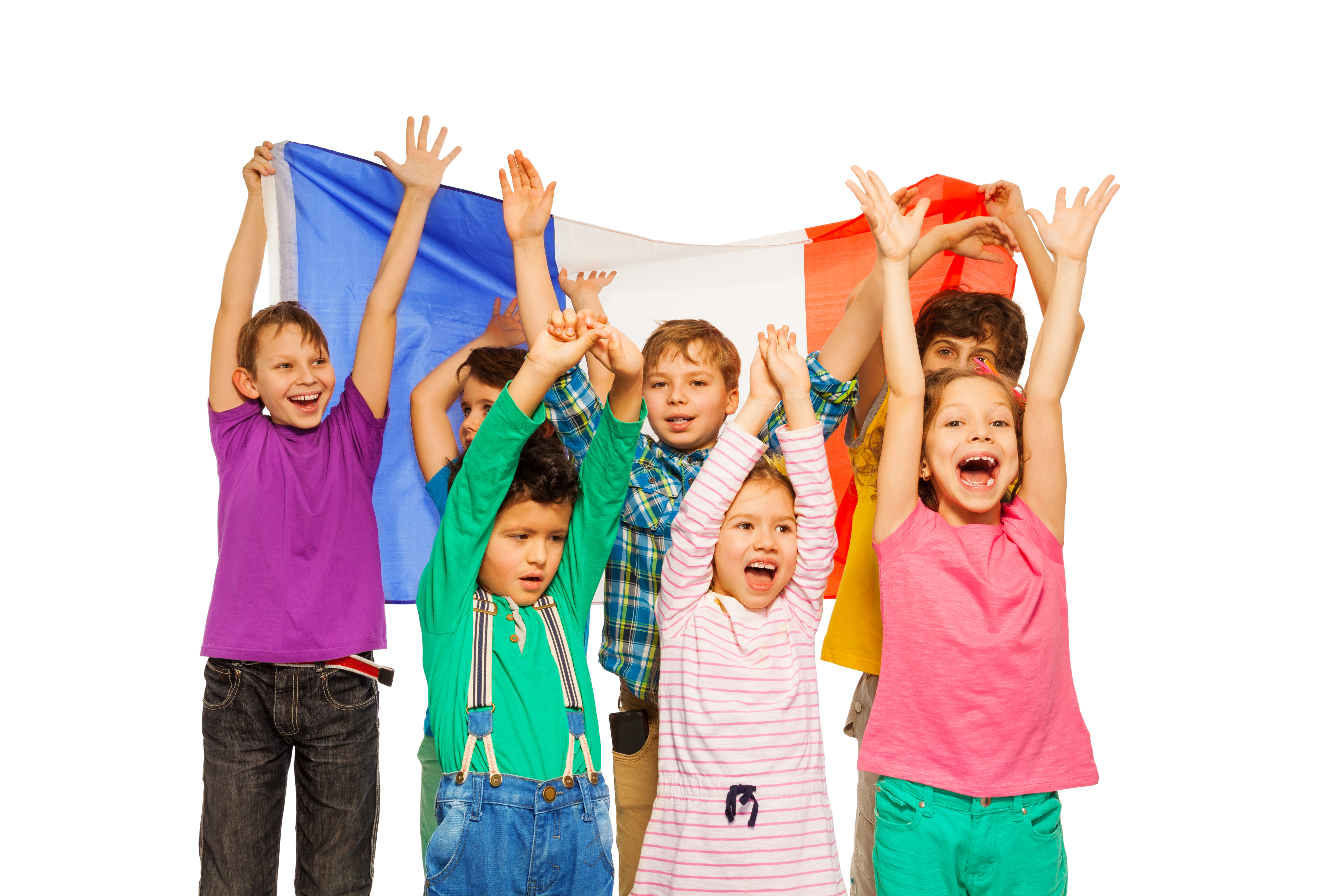 Group of kids holding the French flag behind them