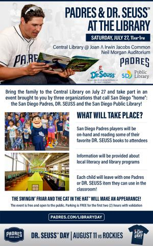 Padres and Dr. Seuss at the library