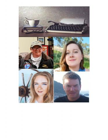 Photo collage of 2020 Short Story Contest winners with local author logo