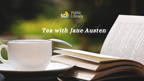 "Tea cup and open book, with the words ""Tea with Jane Austen"""
