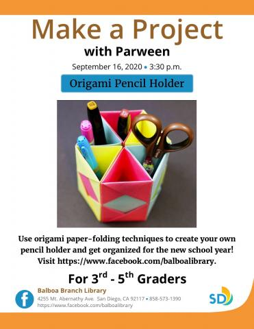 Flyer with picture of origami pencil holder