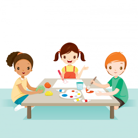 3 children doing crafts together