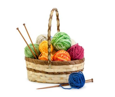 Basket with yarn and knitting needles