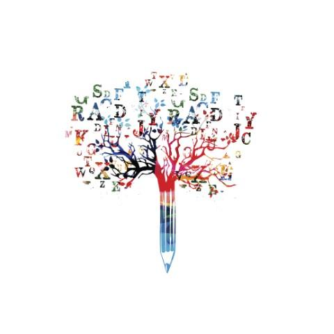 a tree with a pencil trunk and letters on the branches