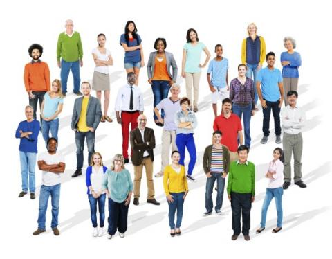 A group of people of diverse age, gender, and ethnicity