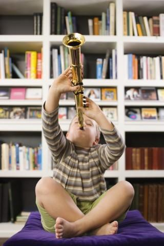 Picture of Boy playing a clarinet.