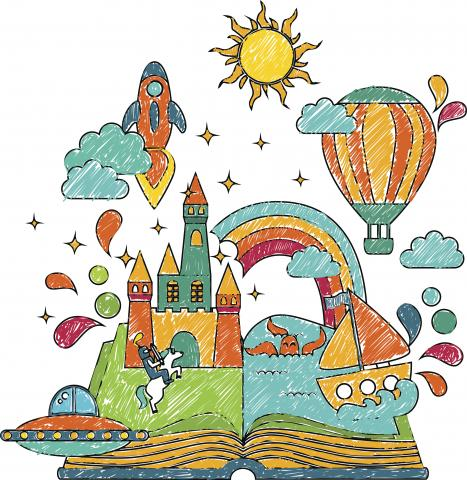 Castle, rocket, balloon, sun emerging from pages of book.