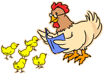 Adult chicken reading to baby chicks
